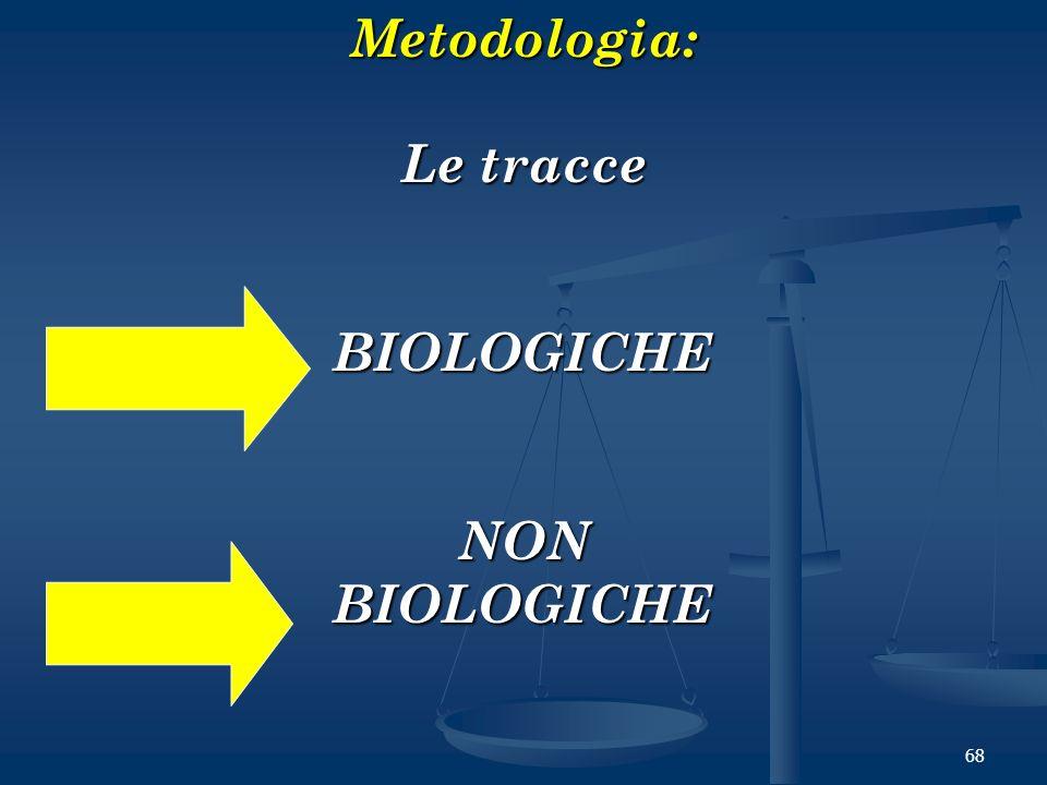 68Metodologia: Le tracce BIOLOGICHENONBIOLOGICHE