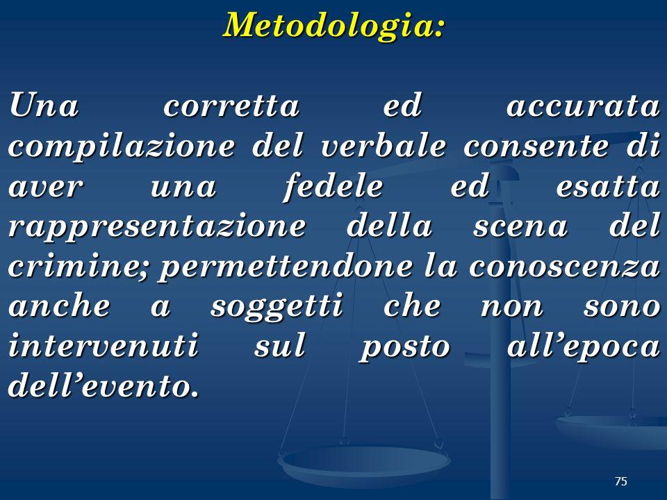 75Metodologia: Una corretta ed accurata compilazione del verbale consente di aver una fedele ed esatta rappresentazione della scena del crimine; perme
