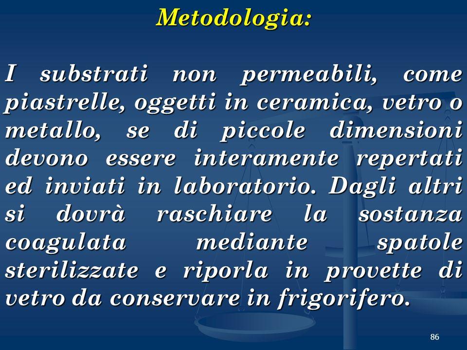 86Metodologia: I substrati non permeabili, come piastrelle, oggetti in ceramica, vetro o metallo, se di piccole dimensioni devono essere interamente r