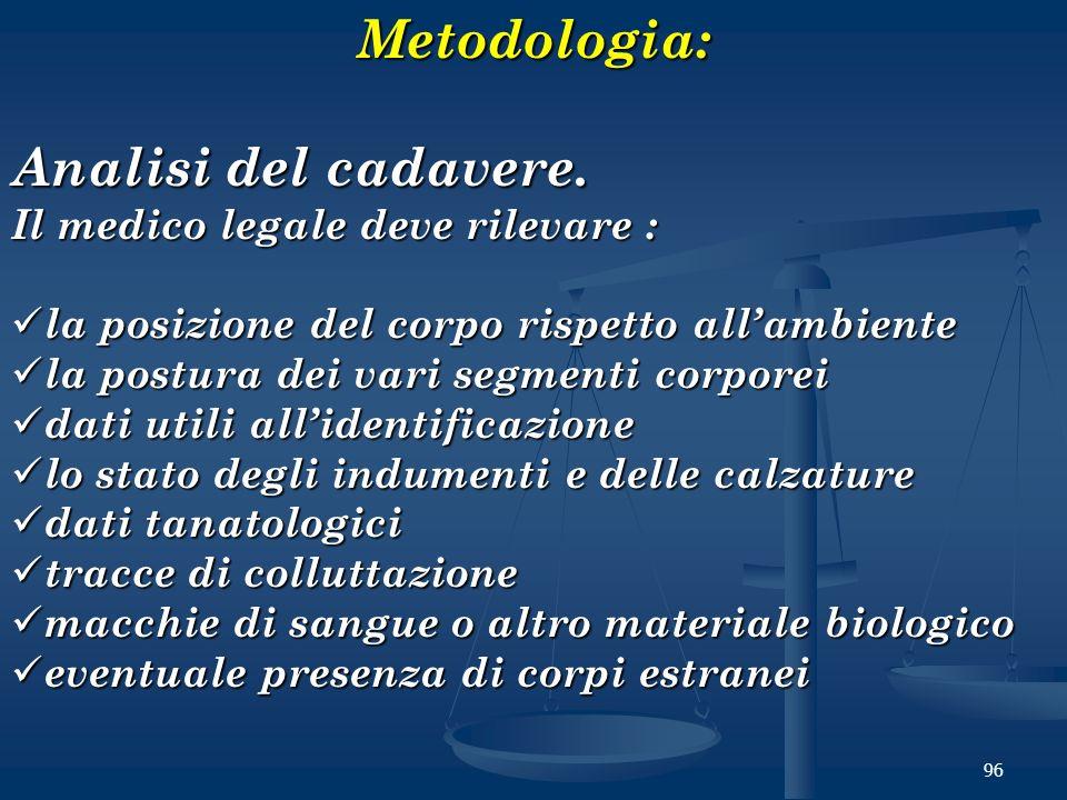 96Metodologia: Analisi del cadavere. Il medico legale deve rilevare : la posizione del corpo rispetto allambiente la posizione del corpo rispetto alla