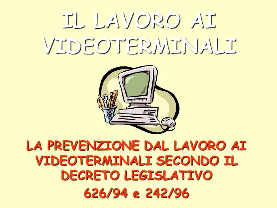 IL LAVORO AI VIDEOTERMINALI LA PREVENZIONE DAL LAVORO AI VIDEOTERMINALI SECONDO IL DECRETO LEGISLATIVO 626/94 e 242/96