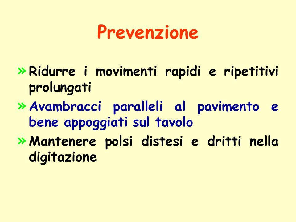 Prevenzione » » Ridurre i movimenti rapidi e ripetitivi prolungati » » Avambracci paralleli al pavimento e bene appoggiati sul tavolo » » Mantenere po