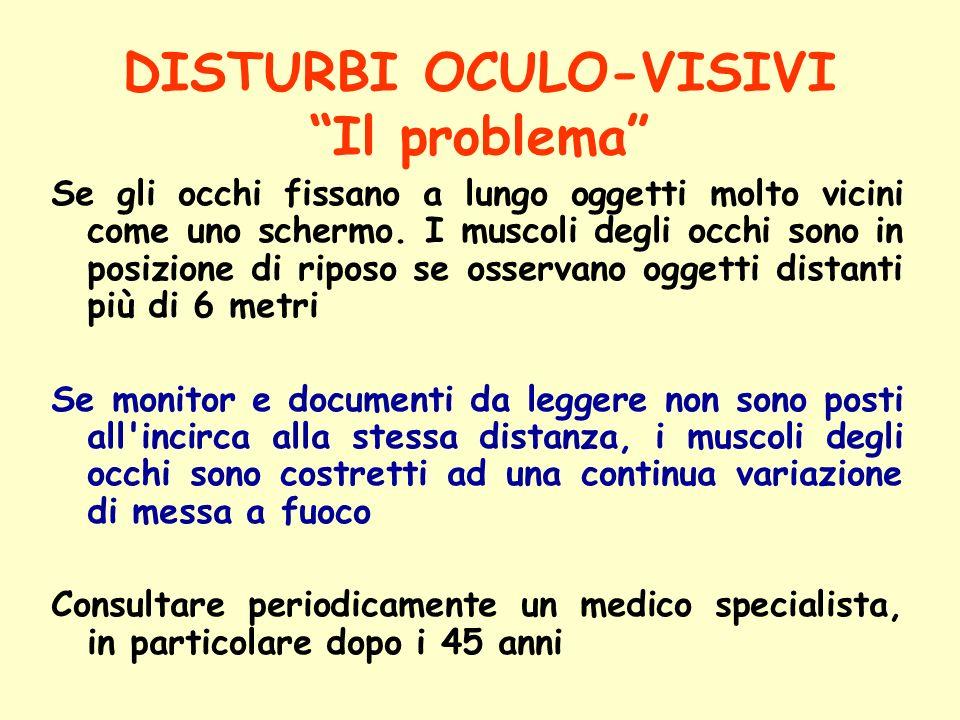 DISTURBI OCULO-VISIVI Il problema Se gli occhi fissano a lungo oggetti molto vicini come uno schermo. I muscoli degli occhi sono in posizione di ripos