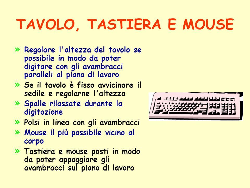 TAVOLO, TASTIERA E MOUSE » » Regolare l'altezza del tavolo se possibile in modo da poter digitare con gli avambracci paralleli al piano di lavoro » »