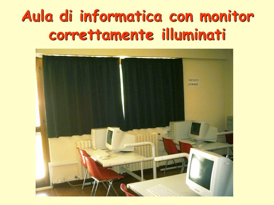 Aula di informatica con monitor correttamente illuminati
