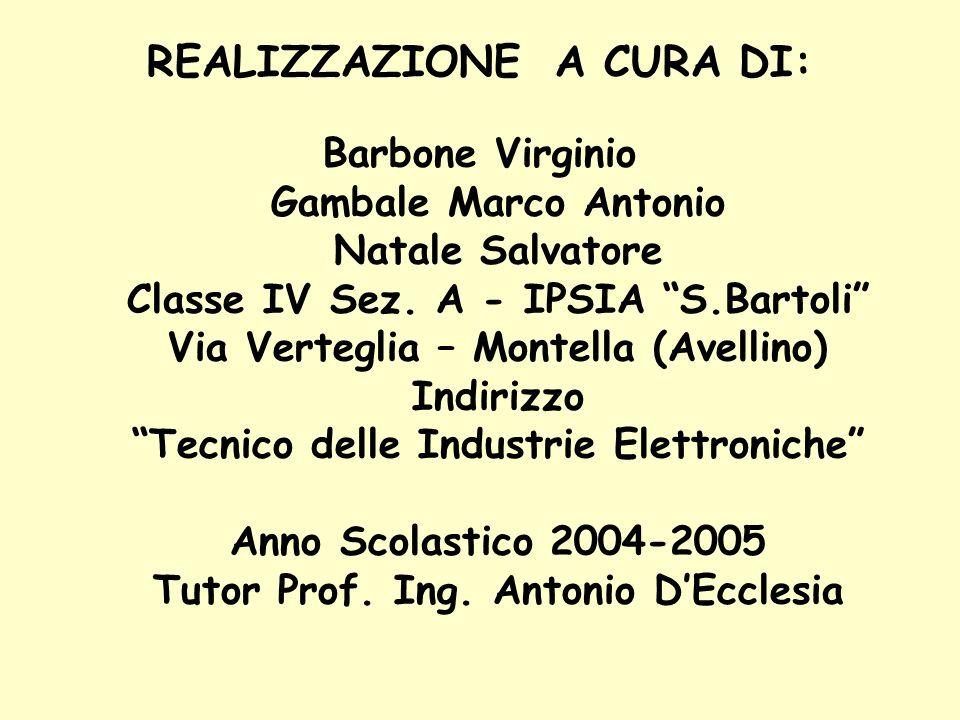 REALIZZAZIONE A CURA DI: Barbone Virginio Gambale Marco Antonio Natale Salvatore Classe IV Sez. A - IPSIA S.Bartoli Via Verteglia – Montella (Avellino