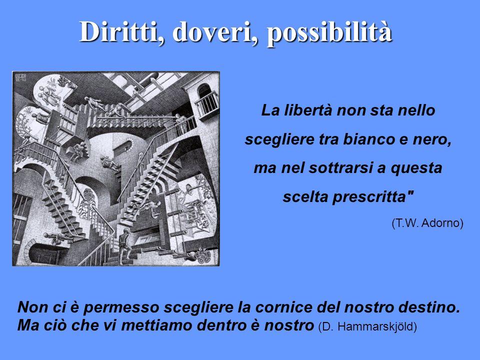 Diritti, doveri, possibilità Non ci è permesso scegliere la cornice del nostro destino. Ma ciò che vi mettiamo dentro è nostro (D. Hammarskjöld) La li