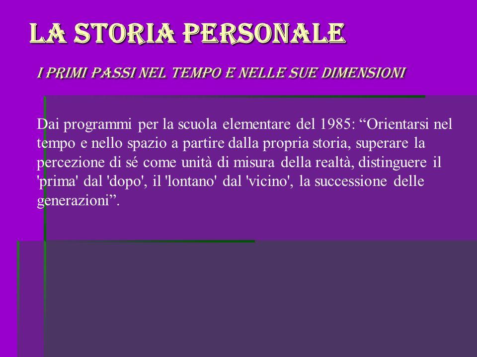 La storia personale i primi passi nel tempo e nelle sue dimensioni Dai programmi per la scuola elementare del 1985: Orientarsi nel tempo e nello spazi