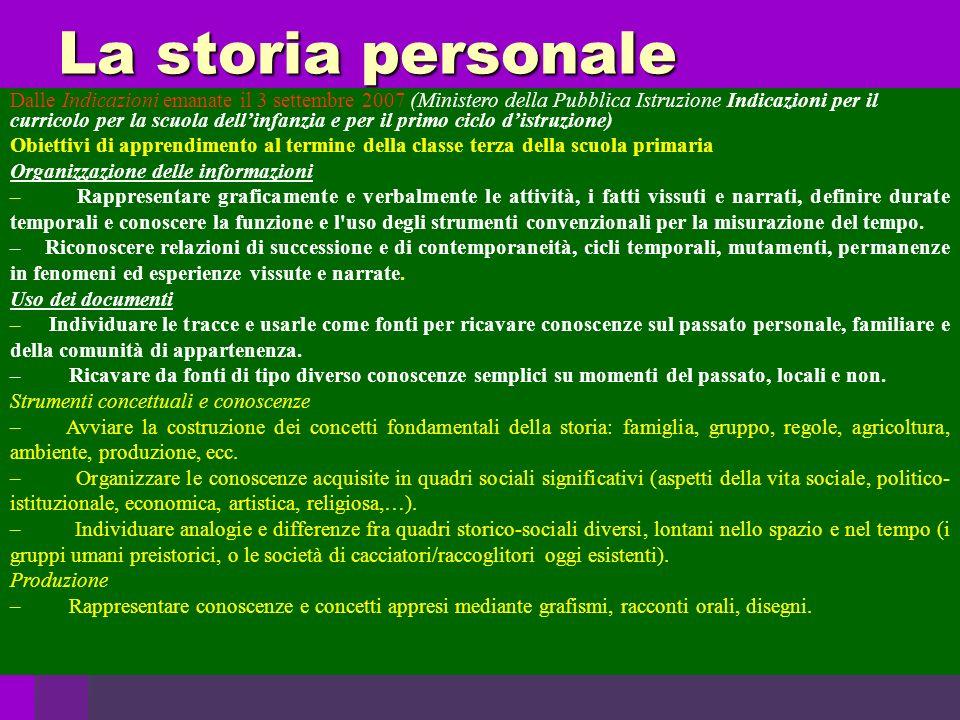 La storia personale Dalle Indicazioni emanate il 3 settembre 2007 (Ministero della Pubblica Istruzione Indicazioni per il curricolo per la scuola dell