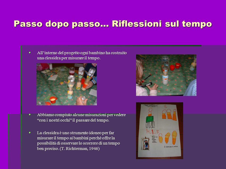 Passo dopo passo… Riflessioni sul tempo Allinterno del progetto ogni bambino ha costruito una clessidra per misurare il tempo.