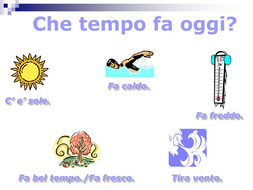 To indicate a condition isnt present: Oggi non fa___________________ Today it is not__________________ Oggi non tira vento. Oggi non piove. Oggi non f