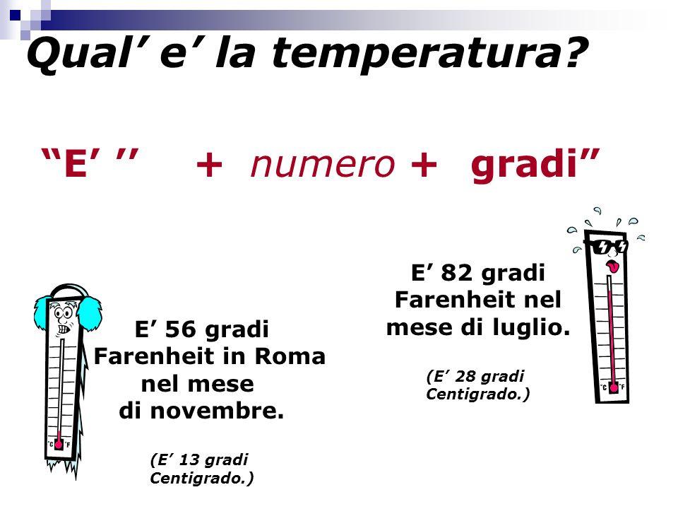 Qual e la temperatura.E +numerogradi+ E 82 gradi Farenheit nel mese di luglio.