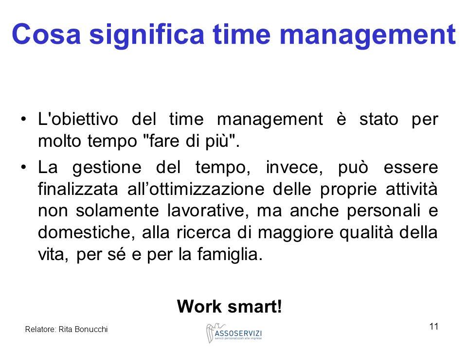 Relatore: Rita Bonucchi 11 Cosa significa time management L'obiettivo del time management è stato per molto tempo