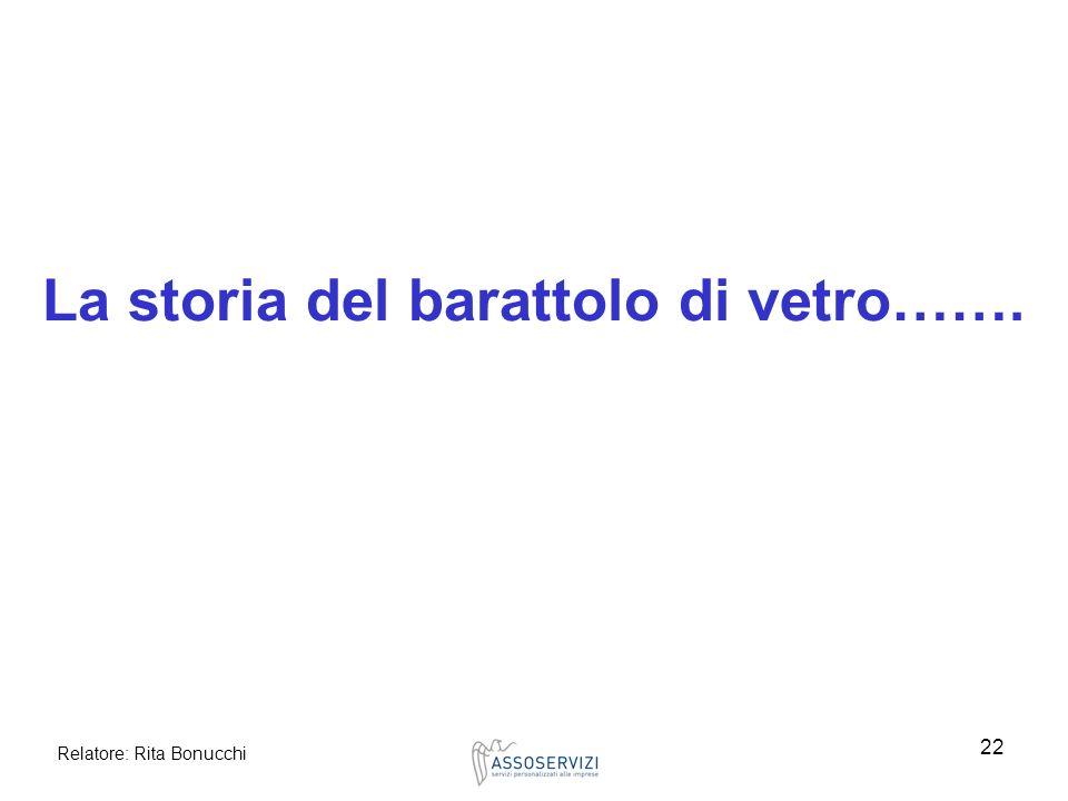 Relatore: Rita Bonucchi 22 La storia del barattolo di vetro…….
