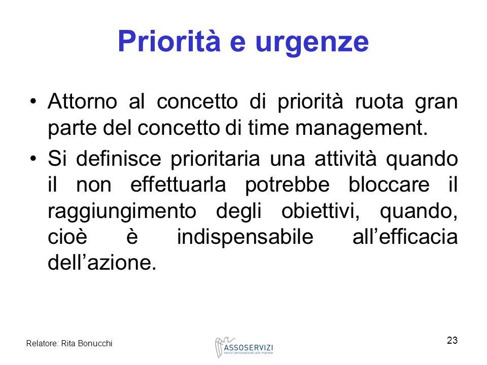 Relatore: Rita Bonucchi 23 Priorità e urgenze Attorno al concetto di priorità ruota gran parte del concetto di time management. Si definisce prioritar