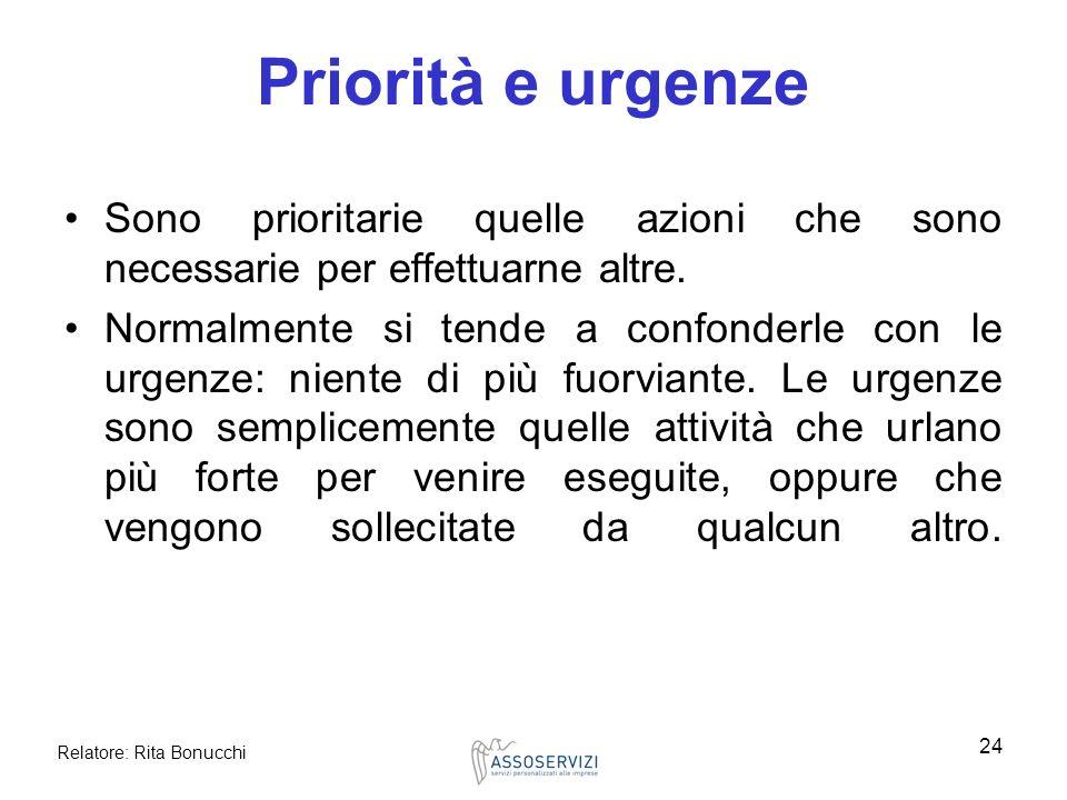 Relatore: Rita Bonucchi 24 Priorità e urgenze Sono prioritarie quelle azioni che sono necessarie per effettuarne altre. Normalmente si tende a confond