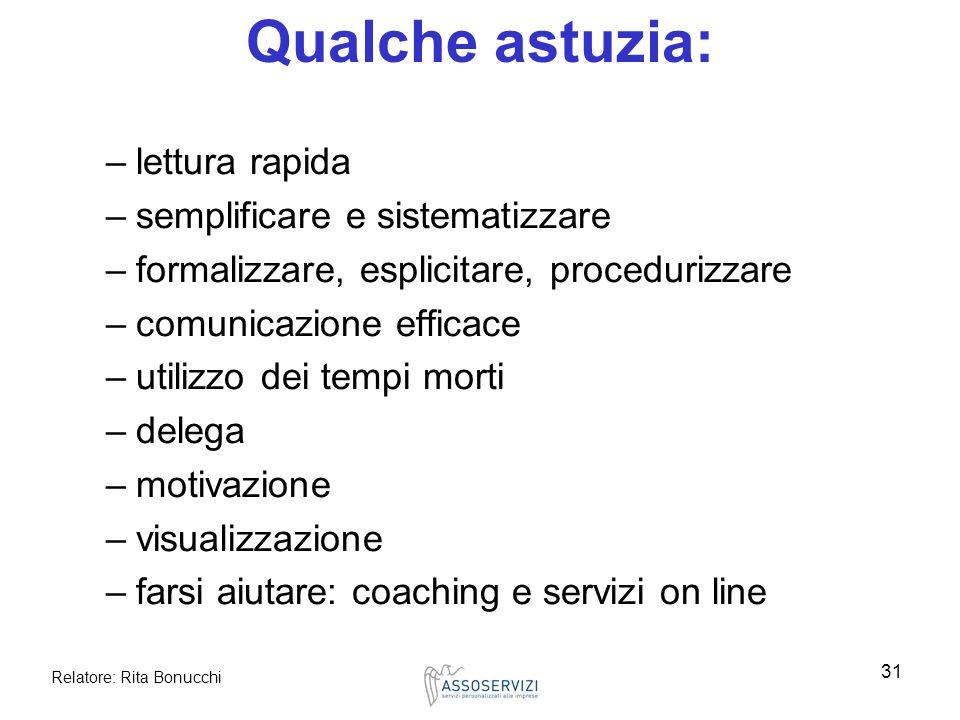 Relatore: Rita Bonucchi 31 Qualche astuzia: –lettura rapida –semplificare e sistematizzare –formalizzare, esplicitare, procedurizzare –comunicazione e