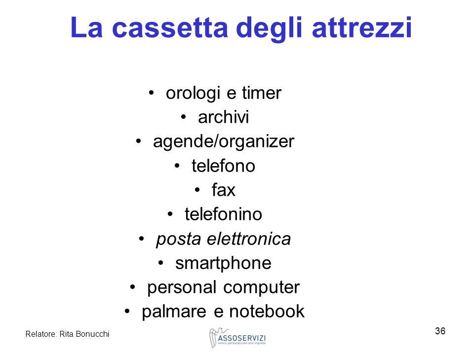 Relatore: Rita Bonucchi 36 La cassetta degli attrezzi orologi e timer archivi agende/organizer telefono fax telefonino posta elettronica smartphone pe