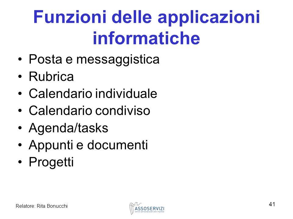 Relatore: Rita Bonucchi 41 Funzioni delle applicazioni informatiche Posta e messaggistica Rubrica Calendario individuale Calendario condiviso Agenda/t