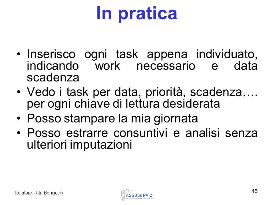 Relatore: Rita Bonucchi 45 In pratica Inserisco ogni task appena individuato, indicando work necessario e data scadenza Vedo i task per data, priorità