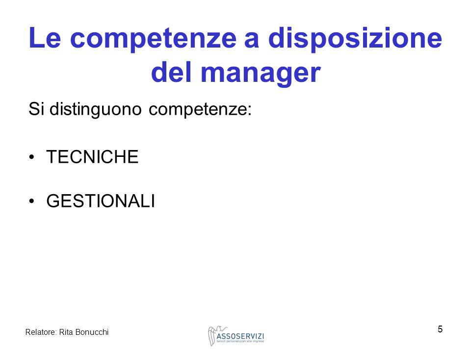 Relatore: Rita Bonucchi 5 Le competenze a disposizione del manager Si distinguono competenze: TECNICHE GESTIONALI
