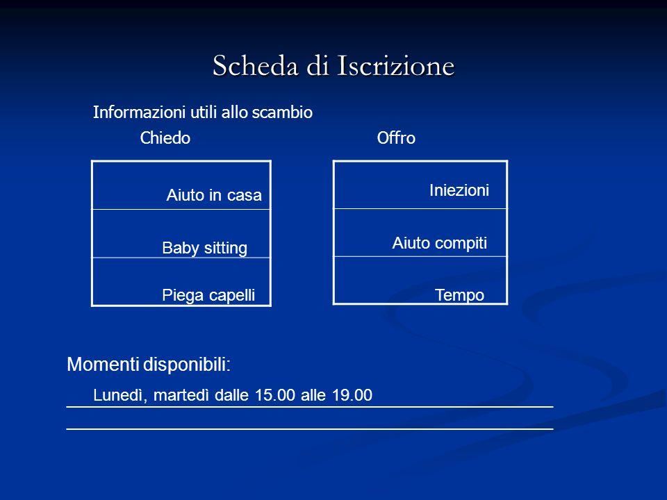 Scheda di Iscrizione Momenti disponibili:_______________________________________________ Lunedì, martedì dalle 15.00 alle 19.00 Aiuto in casa Baby sitting Piega capelli Iniezioni Aiuto compiti Tempo Informazioni utili allo scambio ChiedoOffro