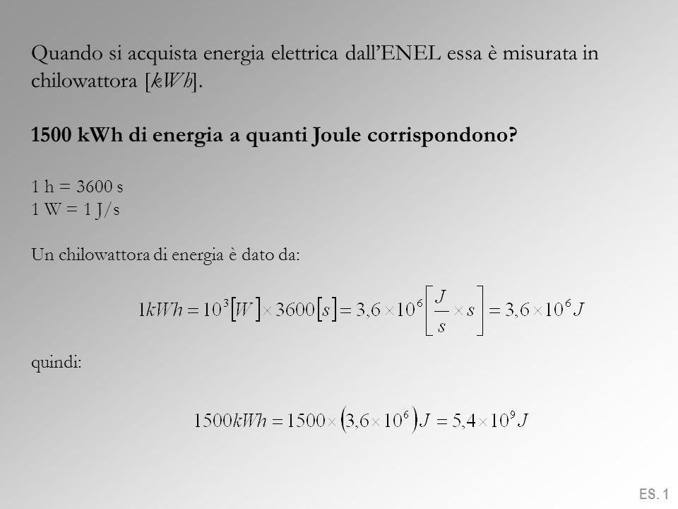 Quando si acquista energia elettrica dallENEL essa è misurata in chilowattora [kWh]. 1500 kWh di energia a quanti Joule corrispondono? 1 h = 3600 s 1