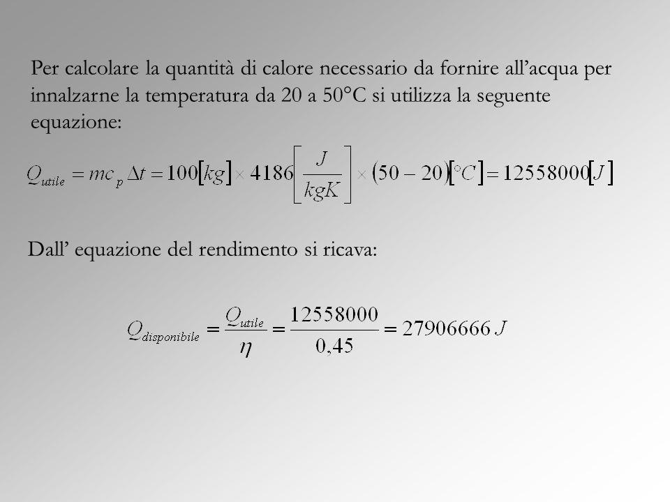 Per calcolare la quantità di calore necessario da fornire allacqua per innalzarne la temperatura da 20 a 50°C si utilizza la seguente equazione: Dall