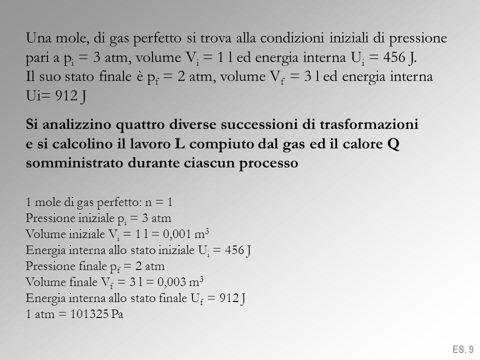 Una mole, di gas perfetto si trova alla condizioni iniziali di pressione pari a p i = 3 atm, volume V i = 1 l ed energia interna U i = 456 J. Il suo s
