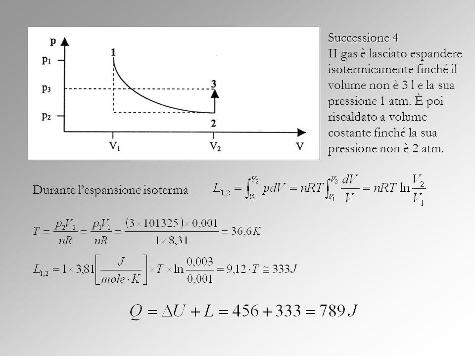 Successione 4 Successione 4 II gas è lasciato espandere isotermicamente finché il volume non è 3 l e la sua pressione 1 atm. È poi riscaldato a volume