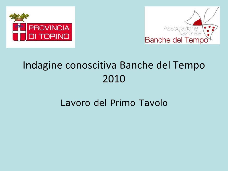 Indagine conoscitiva Banche del Tempo 2010 Lavoro del Primo Tavolo