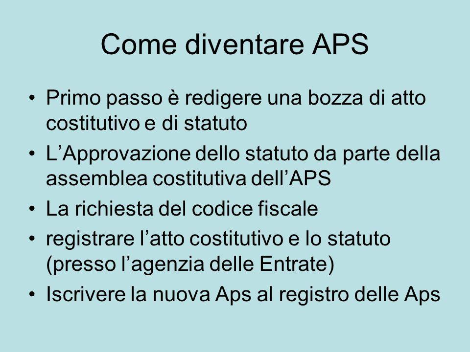 Come diventare APS Primo passo è redigere una bozza di atto costitutivo e di statuto LApprovazione dello statuto da parte della assemblea costitutiva