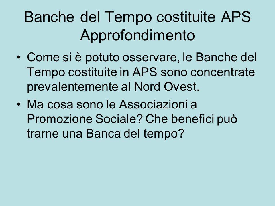 Banche del Tempo costituite APS Approfondimento Come si è potuto osservare, le Banche del Tempo costituite in APS sono concentrate prevalentemente al Nord Ovest.