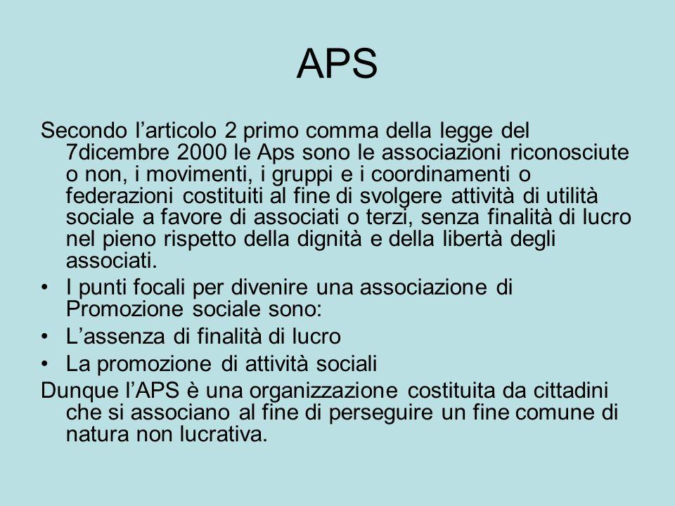 APS Secondo larticolo 2 primo comma della legge del 7dicembre 2000 le Aps sono le associazioni riconosciute o non, i movimenti, i gruppi e i coordinam