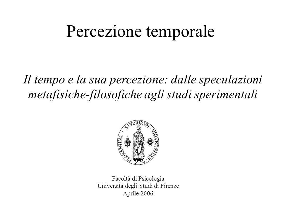 Percezione Temporale 2006 I primi studi sperimentali sulla percezione del tempo Il metodo dellocchio-orecchio che richiedeva il confronto fra un segnale visivo (la posizione della stella) e uno acustico (il suono dellorologio), era ritenuto a quei tempi molto affidabile perchè garantiva misurazioni con una precisione nellarco di un centinaio di millisecondi.