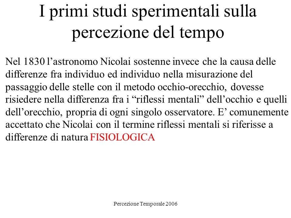 Percezione Temporale 2006 I primi studi sperimentali sulla percezione del tempo Nel 1830 lastronomo Nicolai sostenne invece che la causa delle differe