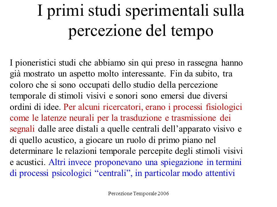 Percezione Temporale 2006 I primi studi sperimentali sulla percezione del tempo I pioneristici studi che abbiamo sin qui preso in rassegna hanno già m