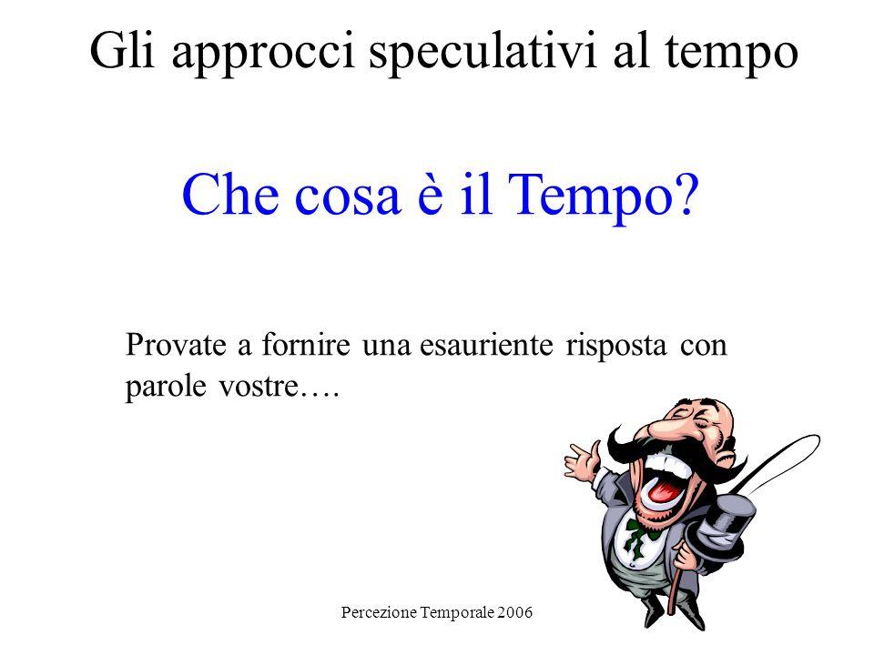 Percezione Temporale 2006 Gli approcci speculativi al tempo Che cosa è il Tempo? Provate a fornire una esauriente risposta con parole vostre….