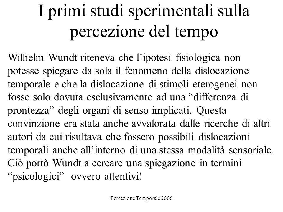I primi studi sperimentali sulla percezione del tempo Wilhelm Wundt riteneva che lipotesi fisiologica non potesse spiegare da sola il fenomeno della d
