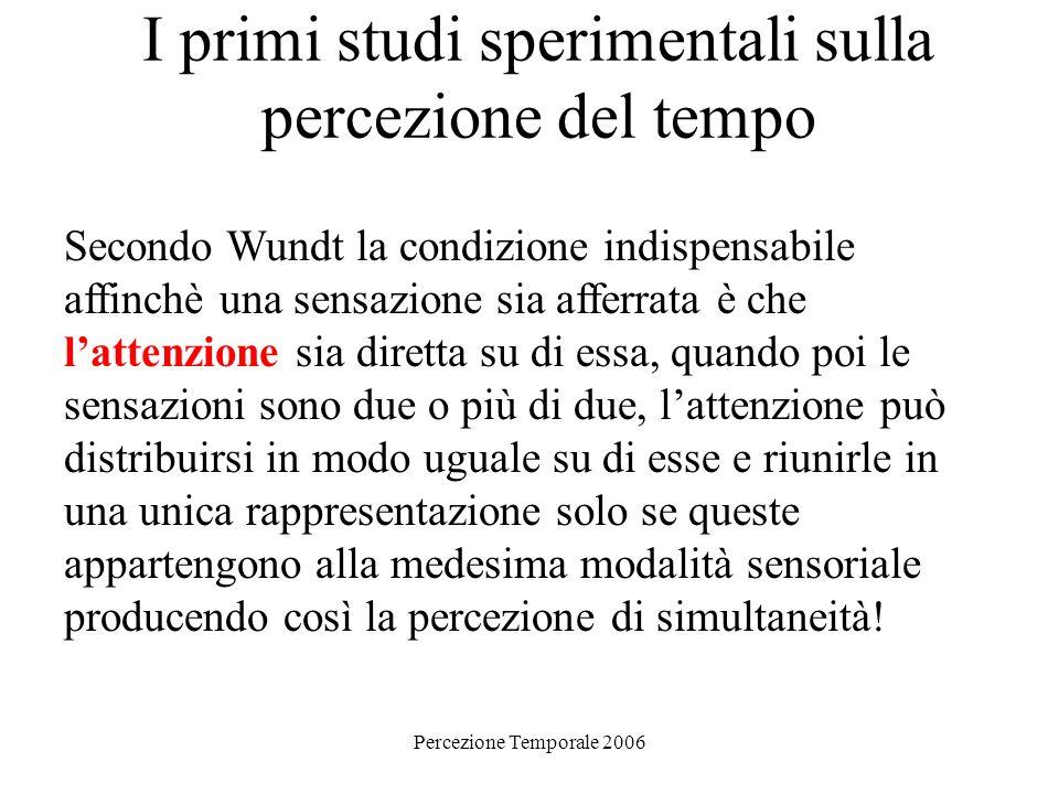 Percezione Temporale 2006 I primi studi sperimentali sulla percezione del tempo Secondo Wundt la condizione indispensabile affinchè una sensazione sia