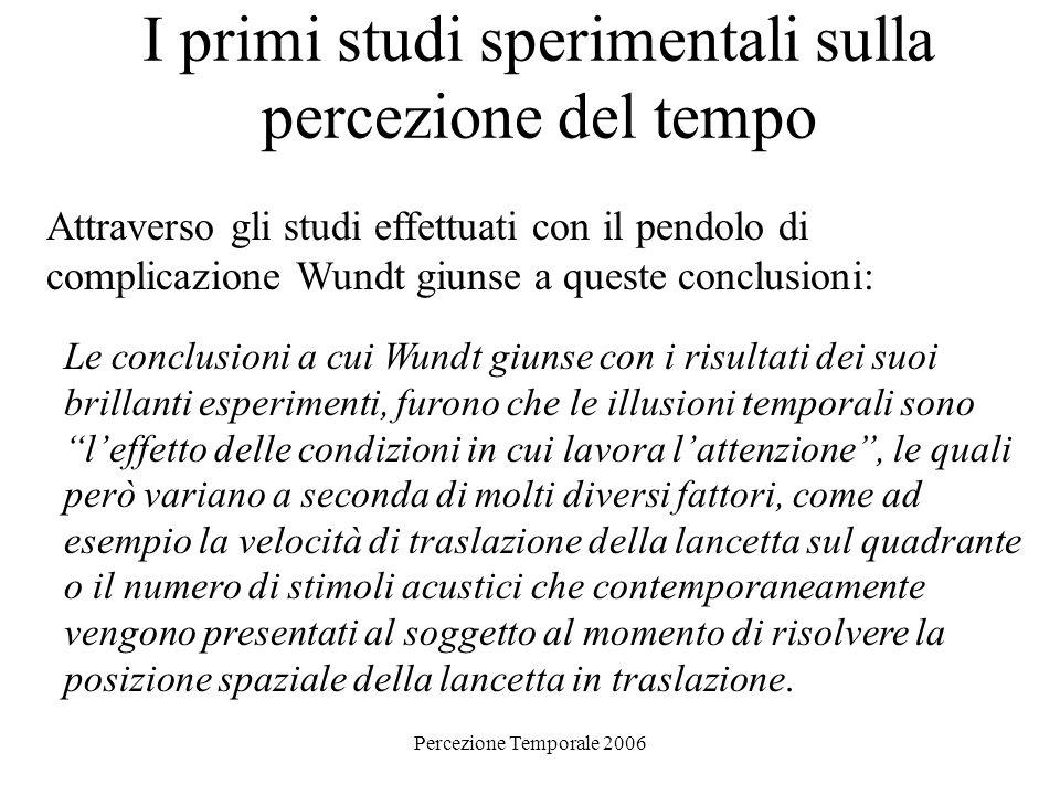 Percezione Temporale 2006 I primi studi sperimentali sulla percezione del tempo Attraverso gli studi effettuati con il pendolo di complicazione Wundt