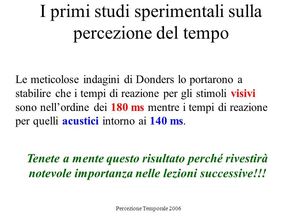 Percezione Temporale 2006 I primi studi sperimentali sulla percezione del tempo Le meticolose indagini di Donders lo portarono a stabilire che i tempi