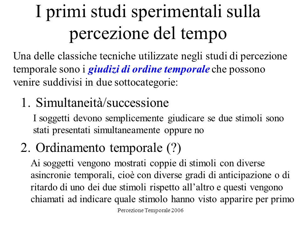 Percezione Temporale 2006 I primi studi sperimentali sulla percezione del tempo Una delle classiche tecniche utilizzate negli studi di percezione temp