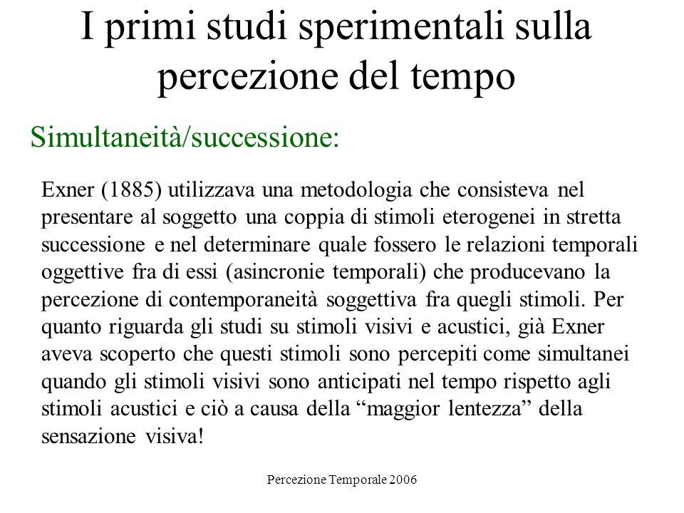 Percezione Temporale 2006 I primi studi sperimentali sulla percezione del tempo Simultaneità/successione: Exner (1885) utilizzava una metodologia che
