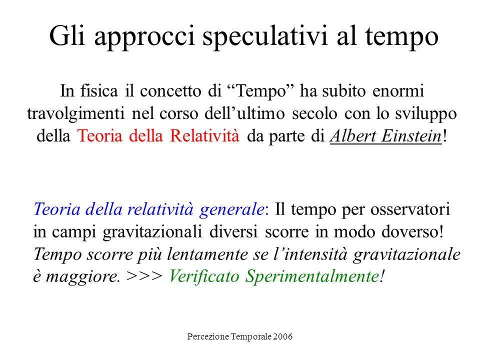 Percezione Temporale 2006 Gli approcci speculativi al tempo Presente, Passato e Futuro La freccia del tempo (termodinamica): La direzione del tempo è definita dal secondo principio della termodinamica che asserisce che in ogni sistema chiuso il disordine o Entropia aumenta sempre con il tempo