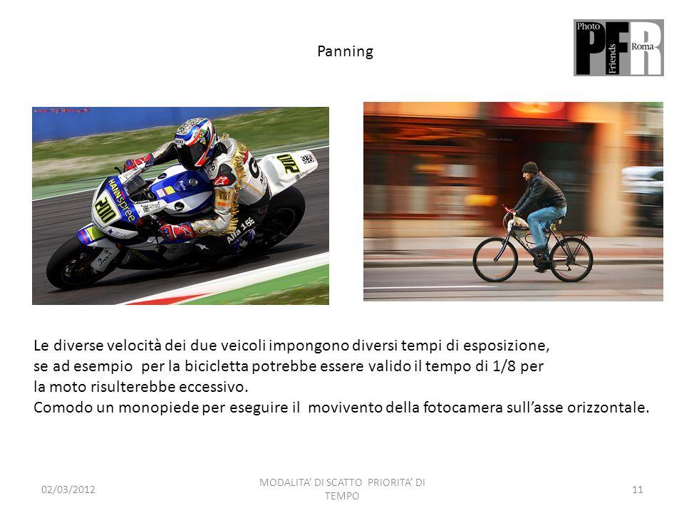 Panning Le diverse velocità dei due veicoli impongono diversi tempi di esposizione, se ad esempio per la bicicletta potrebbe essere valido il tempo di 1/8 per la moto risulterebbe eccessivo.