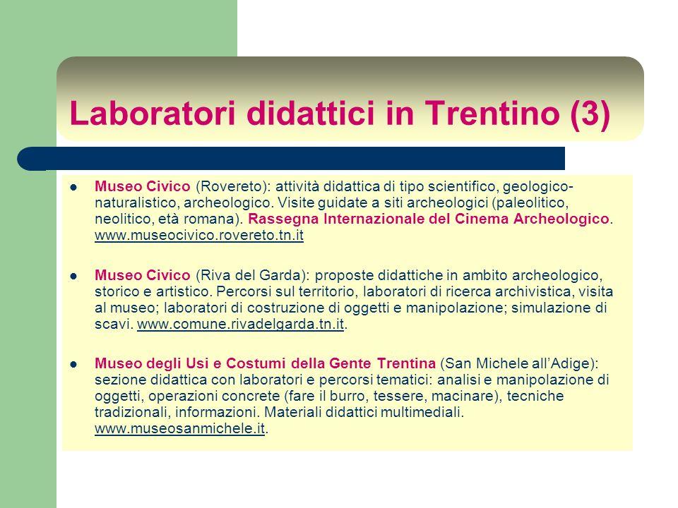 Laboratori didattici in Trentino (3) Museo Civico (Rovereto): attività didattica di tipo scientifico, geologico- naturalistico, archeologico. Visite g