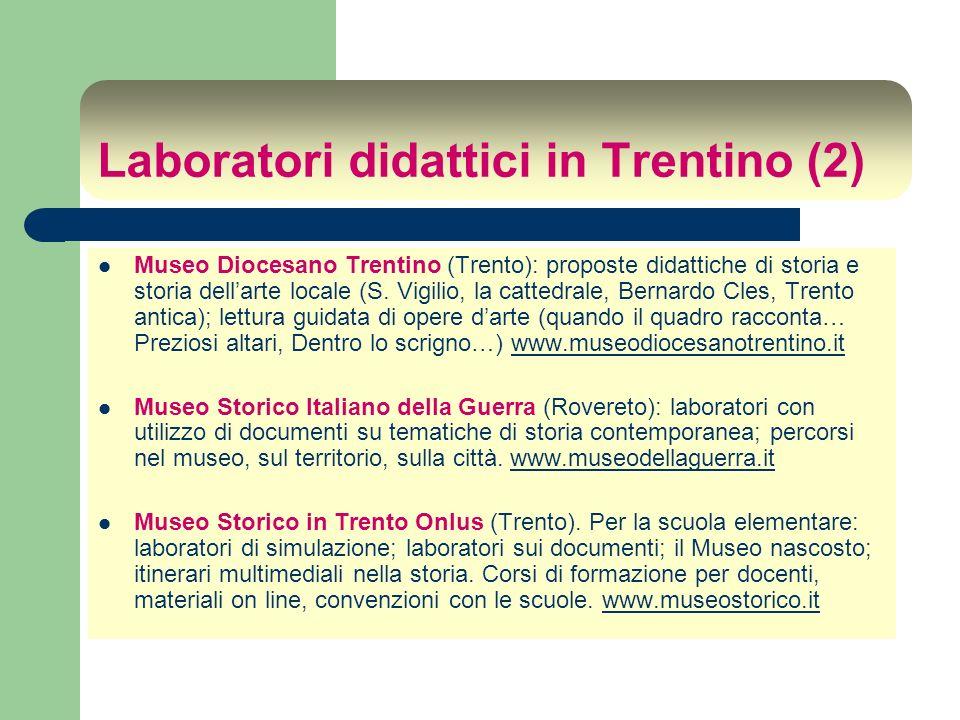 Laboratori didattici in Trentino (3) Museo Civico (Rovereto): attività didattica di tipo scientifico, geologico- naturalistico, archeologico.