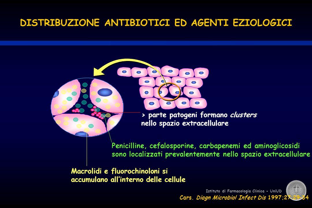 Istituto di Farmacologia Clinica - UniUD DISTRIBUZIONE ANTIBIOTICI ED AGENTI EZIOLOGICI > parte patogeni formano clusters nello spazio extracellulare