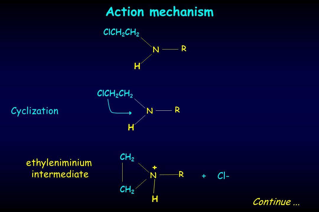 Action mechanism Cyclization H ClCH 2 CH 2 N R H N R H N R CH 2 + + Cl- Continue... ethyleniminium intermediate